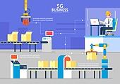 5G, 기술, 4차산업혁명 (산업혁명), 통제 (컨셉), 컨베이어벨트, 공장, 비즈니스