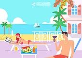 호캉스, 휴가, 여름, 휴양지 (휴가), 호텔, 커플, 허니문 (사건), 라운지체어 (야외의자), 수영장, 수영복
