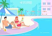호캉스, 휴가, 여름, 휴양지 (휴가), 호텔, 커플, 허니문 (사건), 야자나무 (열대나무), 수영장