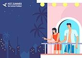 호캉스, 휴가, 여름, 휴양지 (휴가), 호텔, 커플, 허니문 (사건), 밤 (시간대), 발코니