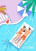 호캉스, 휴가, 여름, 휴양지 (휴가), 호텔, 커플, 허니문 (사건), 수영복, 물놀이튜브 (부풀림), 탑앵글 (카메라앵글)