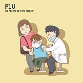 질병, 병원 (의료시설), 진찰 (치료), 환자, 의사, 감기 (질병), 독감백신, 독감바이러스, 예방접종 (주사)