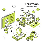 라인아트 (일러스트기법), 교육 (주제), 구름, 메가폰 (정보장비), 지구본