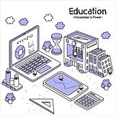 라인아트 (일러스트기법), 교육 (주제), 구름, 노트북컴퓨터 (개인용컴퓨터), 디지털태블릿 (개인용컴퓨터)