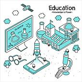 라인아트 (일러스트기법), 교육 (주제), 구름, 컴퓨터모니터 (컴퓨터), 과학, 현미경