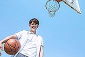 고등학생, 농구, 운동, 플레이, 미소