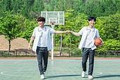 고등학생, 농구, 운동, 플레이, 하이파이브, 미소, 밝은표정