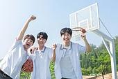 고등학생, 농구, 운동, 플레이, 미소, 밝은표정, 화이팅