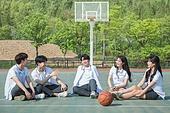 고등학생, 농구, 운동, 코트 (스포츠장소), 미소, 밝은표정, 즐거움, 휴식, 대화