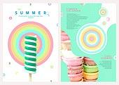 그래픽이미지, 레이아웃, 브로슈어, 상업이벤트 (사건), 패턴, 형광색 (색상), 여름, 아이스크림
