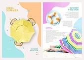 그래픽이미지, 레이아웃, 브로슈어, 상업이벤트 (사건), 패턴, 형광색 (색상), 여성 (성별), 여름, 파라솔 (인조물건)