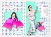 그래픽이미지, 레이아웃, 브로슈어, 상업이벤트 (사건), 패턴, 형광색 (색상), 여성 (성별), 여름, 쇼핑 (상업활동), 쇼핑백