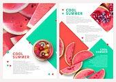 그래픽이미지, 레이아웃, 브로슈어, 상업이벤트 (사건), 패턴, 형광색 (색상), 여름, 수박, 블루베리