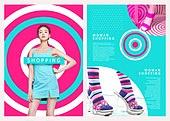 그래픽이미지, 레이아웃, 브로슈어, 상업이벤트 (사건), 패턴, 형광색 (색상), 여성 (성별), 여름, 양말