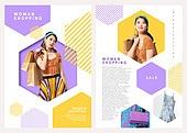 그래픽이미지, 레이아웃, 브로슈어, 상업이벤트 (사건), 패턴, 형광색 (색상), 여성 (성별), 여름, 쇼핑 (상업활동), 레트로스타일 (컨셉), 뉴트로