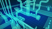3d, 그래픽이미지, 합성 (Computer Graphics), 공장 (산업용건물), 산업장비 (장비), 제조 (움직이는활동), 생산라인 (공장), 4차산업혁명 (산업혁명), 투명 (비침), 홀로그램