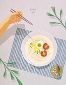 음식, 사람손 (주요신체부분), 잎, 여름, 그릇, 콩국수, 국수