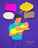 종이 (재료), 페이퍼아트, 사람, 말풍선, 커뮤니케이션, 아기 (인간의나이)