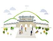 수채물감 (페인트), 번짐, 풍경 (컨셉), 랜드마크, 대한민국 (한국), 경복궁 (서울)