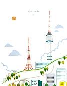 수채물감 (페인트), 번짐, 풍경 (컨셉), 랜드마크, 대한민국 (한국), 남산 (서울), 남산서울타워 (서울)