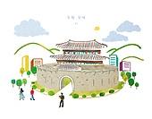 수채물감 (페인트), 번짐, 풍경 (컨셉), 랜드마크, 대한민국 (한국), 수원화성 (수원시)