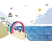 수채물감 (페인트), 번짐, 풍경 (컨셉), 랜드마크, 대한민국 (한국), 태종대, 바다