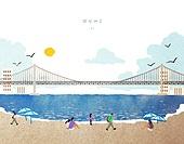 수채물감 (페인트), 번짐, 풍경 (컨셉), 랜드마크, 대한민국 (한국), 부산 (대한민국), 광안대교