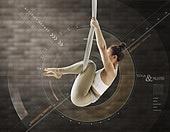 그래픽이미지, 합성, 5G, 운동, 건강한생활 (주제), 다이어트, 필라테스 (이완운동), 바디라인 (날씬함), 필라테스머신 (운동기구), 여성, 뷰티, 홀로그램