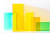 오브젝트 (묘사), 컬러, 색상, 강렬한색채, 아크릴, 투영, 밝은청색 (파랑), 백그라운드, 노랑색 (색상), 노랑배경