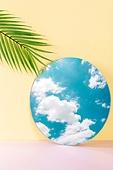 오브젝트 (묘사), 컬러, 색상, 강렬한색채, 아크릴, 투영, 백그라운드, 거울, 하늘, 구름, 잎, 식물, 야자잎