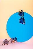 오브젝트 (묘사), 백그라운드, 여름, 자외선, 자외선차단, 아크릴, 색상, 컬러, 선글라스, 패션, 강렬한색채, 거울, 파랑