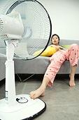 여성, 거실, 선풍기, 바람