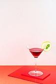 오브젝트 (묘사), 아크릴, 음료, 칵테일, 차가운음료 (무알콜음료), 여름, 얼음, 빨강, 레몬, 민트잎 (허브)
