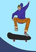 노인 (성인), 라이프스타일, 실버라이프 (주제), 즐거움 (컨셉), 스케이트보드