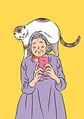 노인 (성인), 라이프스타일, 실버라이프 (주제), 즐거움 (컨셉), 고양이 (고양잇과)