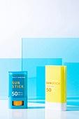 아크릴, 백그라운드, 여름, 화장품 (몸단장제품), 선크림 (화장품), 로션, 자외선, 자외선차단, 스킨케어, 밝은청색 (파랑)