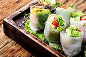 Fresh spring roll. Assorted Asian spring rolls with vegetable and lettuce