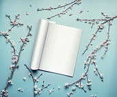 Mock-up of open magazine or catalog on pastel blue desktop with twigs and cherry blossom, top view, flat lay