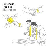 일러스트, 벡터 (일러스트), 비즈니스, 비즈니스맨, 기업, 화이트칼라 (전문직), 서류, 체결, 악수, 회의, 협력, 협의