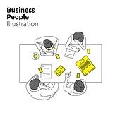 일러스트, 벡터 (일러스트), 비즈니스, 비즈니스맨, 기업, 화이트칼라 (전문직), 남사원, 여직원, 휴먼인포그래픽, 동작, 체결, 회의, 미팅, 협력