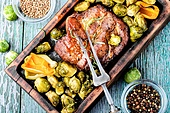 Grilled meat barbecue steak with brussels sprouts.. Meat steak with brussels sprouts