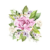 Watercolor bouquet with peony flowers, plants and leaves. Illustration. Watercolor bouquet with peony flowers, plants and leaves.
