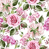 Beautiful watercolor seamless pattern with flowers of rose and peony, berry. Illistration. Beautiful watercolor seamless pattern with flowers of rose and peony, berry.