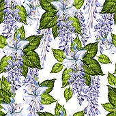 Bright watercolor seamless pattern with wisteria and  lily flowers. Illustration. Bright watercolor seamless pattern with wisteria and  lily flowers.