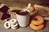 Breakfast with hot chocolate and traditional sweets