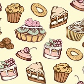 Hand drawn seamless pattern with candies and cakes in vintage style. Vector background with sweets