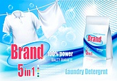 Laundry detergent ad. White clothes hanging on rope and plastic . Laundry detergent ad. White clothes hanging on rope and plastic bag. Design template. Vector. Laundry detergent ad. White clothes hanging on rope and plastic bag. Design template. Vector
