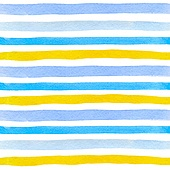 Watercolor striped seamless pattern with blue and yellow lines on a white background. Hand drawn vector illustration