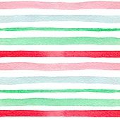 Watercolor striped seamless pattern with green and red lines on a white background. Hand drawn vector illustration