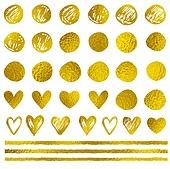 Golden decorative vector design elements on a white background. Festive decorative kit.